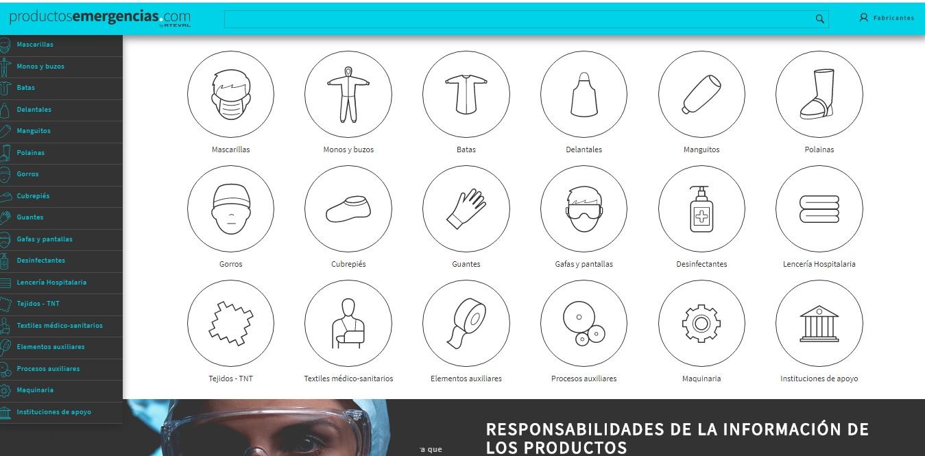 En marcha el marketplace de productos sanitarios de la industria textil www.productosemergencias.com